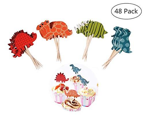 Yongbest Torte Topper Cupcake,48 Stück Dinosaurier Cupcake Tortenstecker Kuchendeckel Topper für Jungen Kinder Geburtstag Hochzeiten Baby Duschen Party Decor Gefälligkeiten