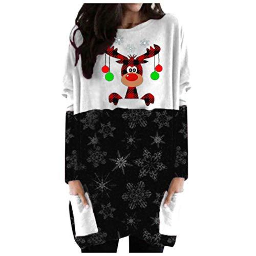 Sudadera para mujer con estampado navideo feo, con bolsillos, bonito patrn de reno de alce, sudadera grfica, informal, otoo, manga larga, blusa para adolescentes