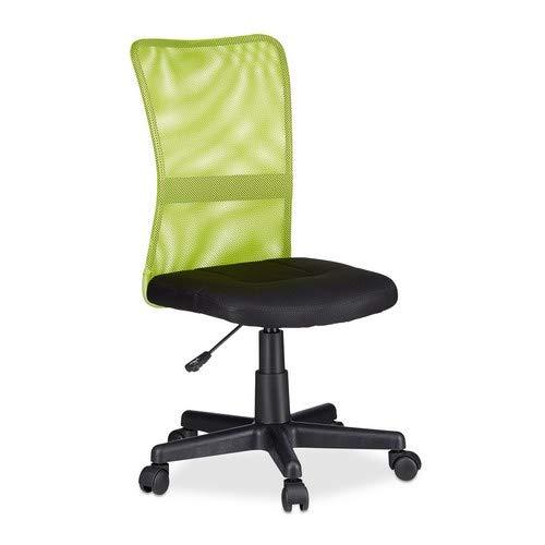 Relaxdays Bürostuhl, höhenverstellbarer Kinder Drehstuhl, ergonomisch, 90 kg belastbar, HxBxT: 102 x 55 x 55 cm, grün
