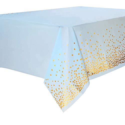 Layal Design Elegante Einweg Plastik Tischdecke | Blau Gold | Party Geburtstag Birthday Babyparty Baby Shower (1 Stück)