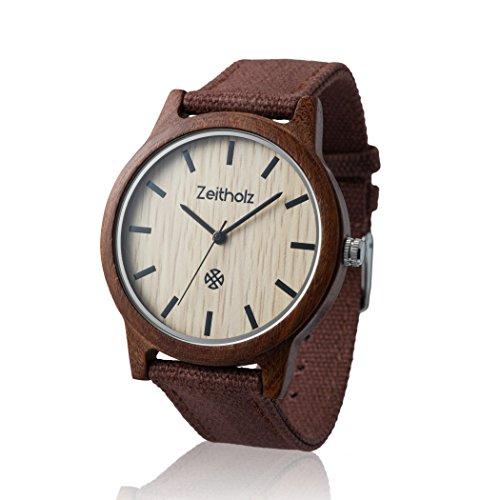 ZEITHOLZ - Orologio unisex di legno, modello Reinsberg - Cassa di legno di sandalo, cinturino regolabile in tela - Marrone - Leggero, orologio robusto ed elegante - Uomo o Donna
