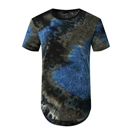 Realde Herren Kurzarm Tops Mode Männer Rundhals Ausschnitt Tie Dye Loose Fit T-Shirt Oversize Oberteil Lila, Rot, Gelb, Blau Frühling und Herbst Freizeit Bequem Bluse