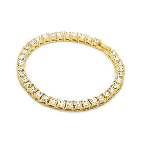 Dorical Swarovski Elements Armband/Damen Herren Armkette Schmuck Armband Armkettchen Tennisarmband Armschmuck Tennis Bracelet Glitzerarmband Hochzeitsschmuck(Gold)