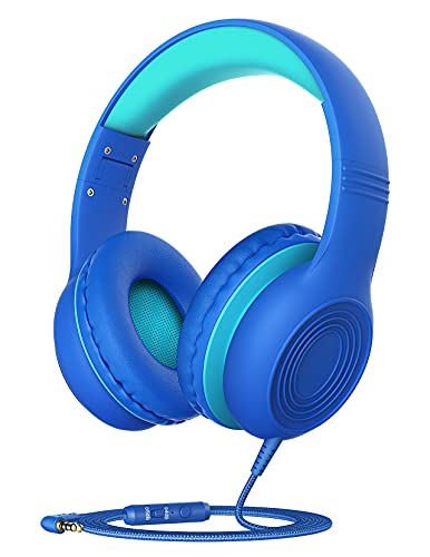 Kids Headphones with Microphone for School, Over Ear/On Ear Wired Headphones for Kids Boys Girls with Volume Limited 85dB/94dB and HD Sound Sharing Function for iPad/Tablet/PC/School/Travel