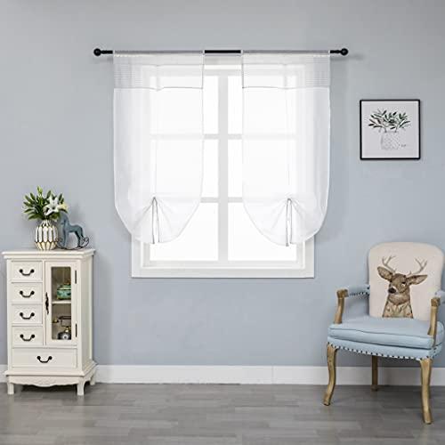Par de cortinas blancas semitransparentes, dobladillo superior gris con encaje para ventana, salón, dormitorio y dormitorio, 2 paneles con bolsillo, 60 x 150 cm