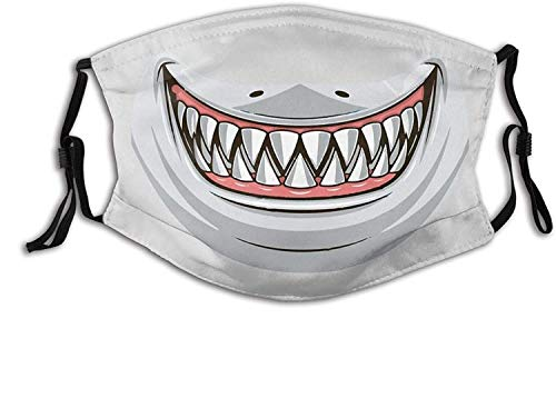 The Shark Teeth Horror Wedding Face Mask with Filter Pocket Washable Reusable Face Bandanas Balaclava -The Cartoon Shark Teeth Smile-1 PCS
