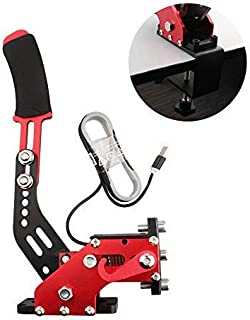 USB Handbrake Clamp for PC Sim Racing Games G25 G27 G29 T500 FANATECOSW Dirt Rally Windows (Red+Clamp)