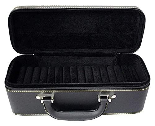Bfuns Multifunktionale Schmuckschatulle Leder Schmuck Fall Halskette Ring Lagerung Schmuck Aufbewahrungsbox Schmuck Aufbewahrungsbox Zubehör Stor (Color : Black, Size : 31 * 12 * 12.5cm)