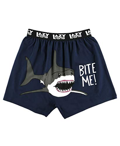 Lazy One Funny Animal Boxers, Novelty Boxer Shorts, Humorous Underwear, Gag Gifts for Men, Ocean, Sea (Bite Me!, Wide Awake Sharks, Large)