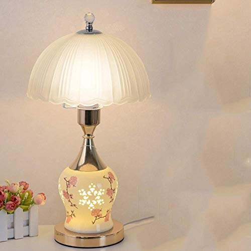 Hogreat Lámpara de Mesa Lámpara de Noche para Dormitorio LED/Regalos de Boda románticos para el hogar/lámpara de vitrocerámica Tama?o Ajustable (Color:Gris) (Color : Gold)