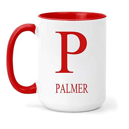 """Palmer - Taza, diseño con texto en inglés """"Name & Initial"""", color rojo"""