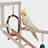 <span class='highlight'><span class='highlight'>ZQEU</span></span> Parrots Playstand Bird Playground Wood Perch Training Stand for Cockatoo Parakeet Conure Cockatiel Exercise with Feeder Cups Toys Play