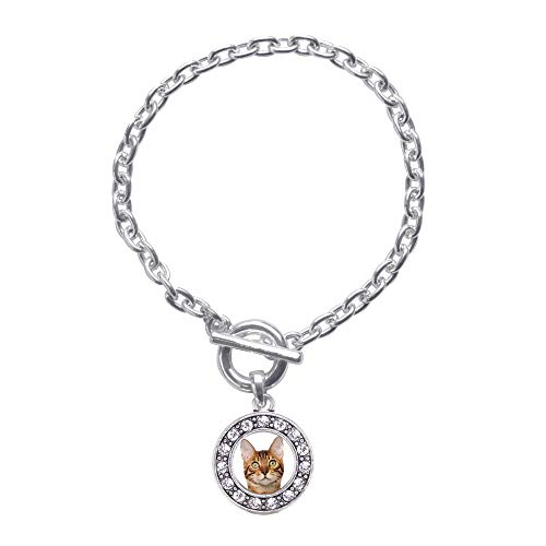 Inspired Silver - Bengal Cat Toggle Charm Bracelet for Women - Silver Circle Charm Toggle Bracelet with Cubic Zirconia Jewelry