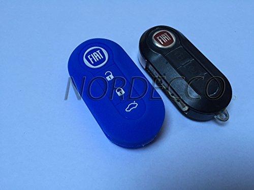 Fiat 100% de Grande Coque en Silicone 3 Boutons Flip Key Fob Housse de Protection 500 500L Abarth Grande Punto Panda Brava Stilo Linea (Bleu)