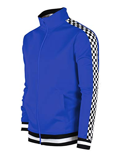 SCREENSHOTBRAND-F11854 Mens Urban Hip Hop Premium Track Jacket - Slim Fit Checker Taped Block Fashion Top-Royal-Medium