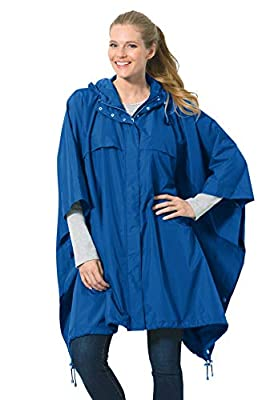 Woman Within Women's Plus Size Packable Rain Cape, Deep Cobalt by Woman Within