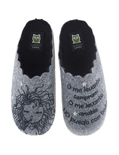 Zapatillas de casa Divertidas Fabricadas en España Marpen Slippers Mujer - Color - Gris, Talla - 39