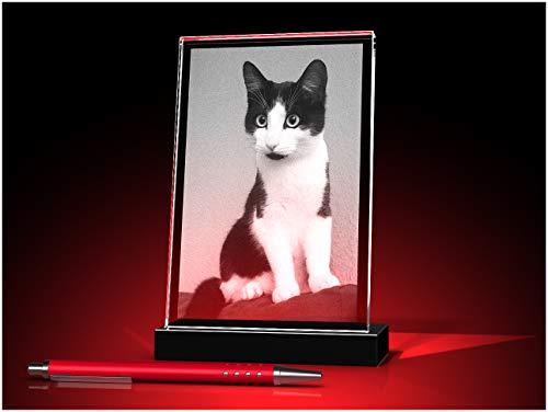 GLASFOTO.COM personalisiertes Glasfoto mit Ihrem eigenen Bild – Kristallglas mit Innengravur im Hochformat, geneigt, als anpassbares Geschenk für jeden Anlass 100 x 150 x 10 mm