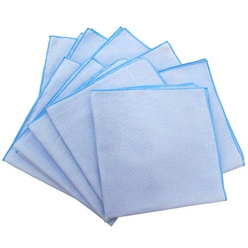 Fluffy(フラフィ) 中判カラー 二重合 ガーゼハンカチ ブルー 10枚セット 日本製 綿100% 無地 35×35cm