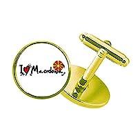 私はマケドニア語フラグラブ・ハートのイラストが好きです スタッズビジネスシャツメタルカフリンクスゴールド