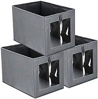 Queta Lot de 3 Boîte de Rangement Pliable Tissu, Bac de Rangement Ouvert avec poignée et fenêtre de visualisation Panier d...