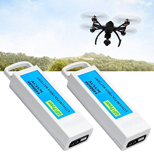 6400mAh Replacement Battery, High Capacity 3S 11.1V LiPo Battery Compatible with Yuneec Q500, Q500+, Q500 4K, Drone Quadcopter (2 Pack)
