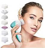 Facial Cleansing and Massaging Brushes and Pads Portable Electric Facial Massager, Pore Cleaner with Brush Heads for Acne, Blackheads and Dead Skin (7 in 1 Beauty Care Massager)