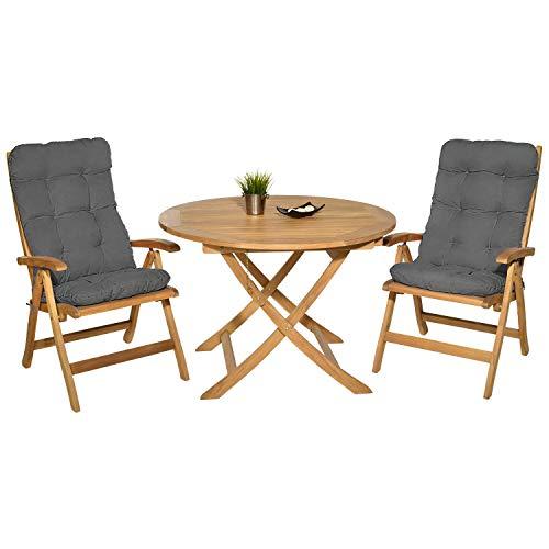Pack 2 Cojines con Respaldo para Sillas de terraza y jardín. Conjunto de 2 Cojines para sillones de Interior y Exterior. Cojin para Silla con Respaldo, Cojines Acolchados, tumbonas, (Gris)