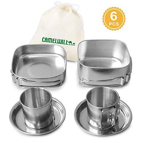 Lixada Camping Kochgeschirr Set Camping Suppe Kaffee Wasserbecher Rostfreier Stahl Pfannen Platten eingestellt zum 2-3 Leute