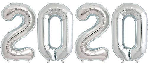 Dancing Queen 2020 - Ballon Zahl in Silber - XXL Riesenzahl 100cm - Tischdeko Party Deko Geschenk Dekoration Folienballon Luftballon