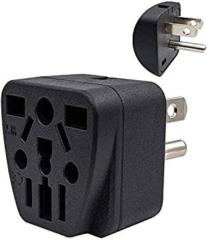 US Travel Plug Adapter EU/UK/AU/in/CN/JP/Asia/Italy/Brazil to USA  Type B  3 Prong Grounded USA Wall Plug International Mini Travel Adapter and Converter Wall Outlet Power Charger Converter Black