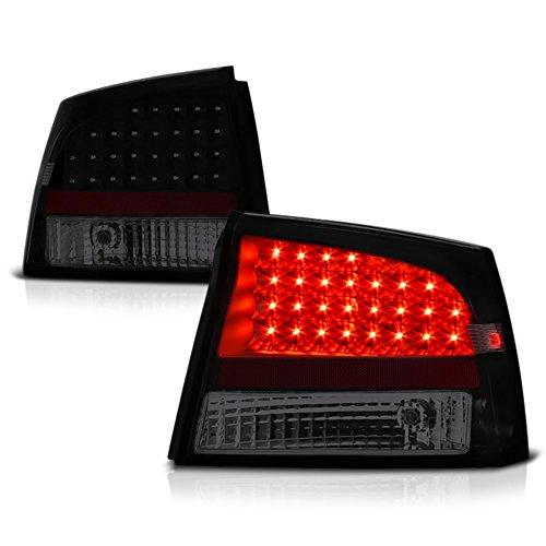 VIPMOTOZ LED Tail Light Lamp For 2009-2010 Dodge Charger - Matte Black Housing, Smoke Lens, Driver & Passenger Side