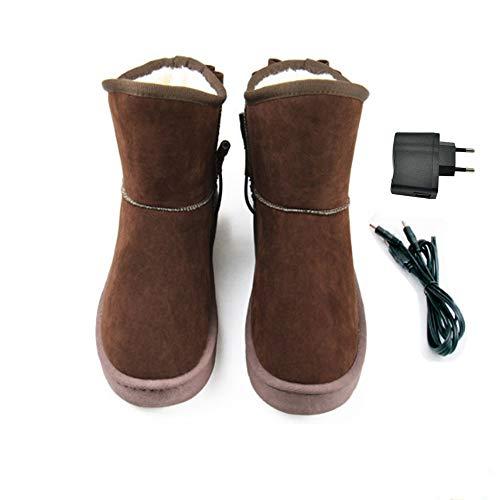 LanXi USB 5 V 10W wärmende Heizschune mt Karbon Heizelementen, mit weicher Sohle, GrößeS M L XL XXL, wärmende Hausschuhe, Wärmepolster, Fußwärmer, Aufwärmung Kalter Füße (39-40, Brown(Frau))