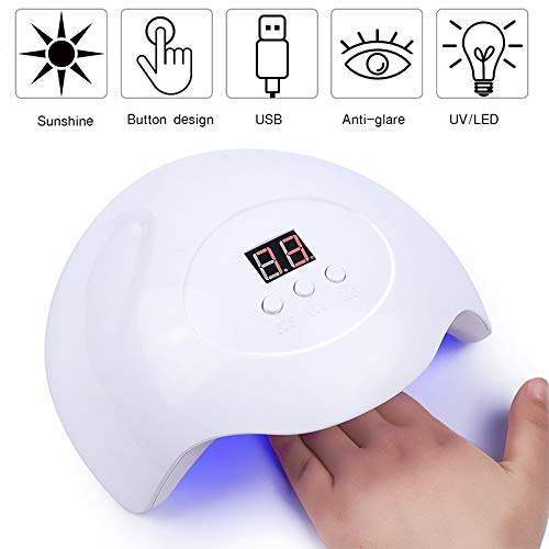 FASD LED UV Nail Lampe 30W, USB Nail Polish Dryer Gel de Polissage Lampe, avec 3 minuteries, Outil Nail Art avec capteur Automatique, Affichage à Cristaux liquides