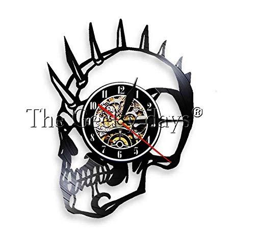 NOlogo Vinyl Wanduhr Punk Skull s Mohawk Mohican Dead Skull Schallplattenuhr Dekoratives Grammophon Wanduhr Handgemachtes Geschenk30cm.12 inches.