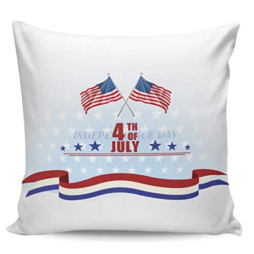 Funda de cojín decorativa de Winter Rangers, 4 de julio de la Independencia Día de la Independencia de la bandera estadounidense ultra suave funda de cojín cuadrada, cómoda funda de cojín para sofá o dormitorio, 45 x 45 cm