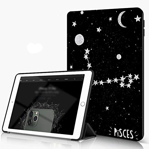 She Charm Funda para iPad 9.7 para iPad Pro 9.7 Pulgadas 2016,Cielo Nocturno Estrellado de Estilo Infantil con Luna y Planetas,Incluye Soporte magnético y Funda para Dormir/Despertar