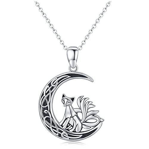 Fox Necklace 925 Sterling Silver Celtic Moon Nine Tail Fox Pendant Necklace Fox Jewelry Gifts for Women Girls