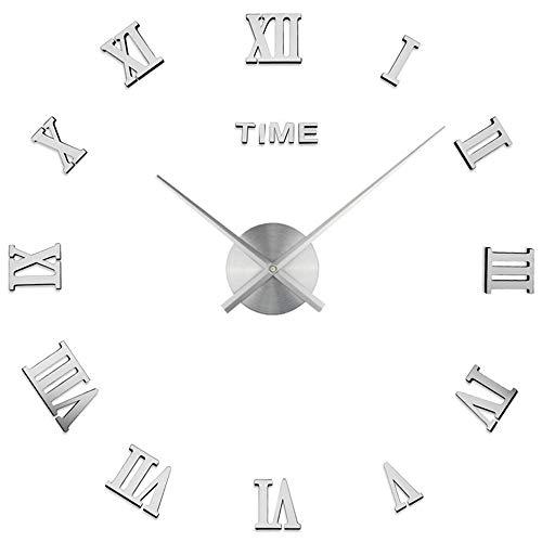 Espejo 3D Reloj De Pared Sin Marco DIY Superficie Adhesiva De Bricolaje...