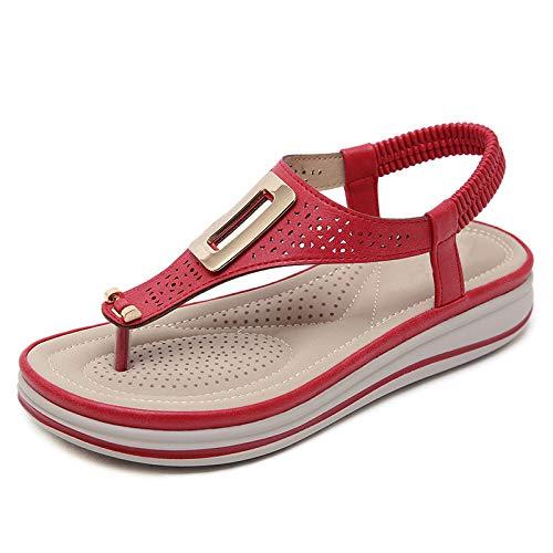 Sandalias Rojas Hebilla Metálica Femenina Línea Láser Zapatos De Playa Con Cuña Para Mujer Sandalias Suaves Masaje De Mujer Tacón Medio Zapatos De Mujer