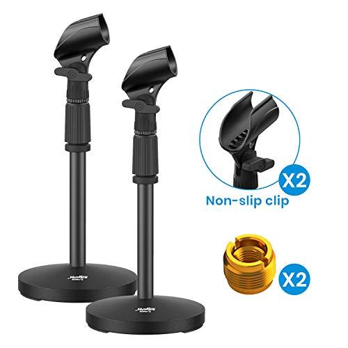 Moukey MMs-2 Einstellbar Schreibtisch Mikrofonständer mikrofonhalter mikrofonklemme Höheverstellbar 32-47CM mit Mikrofonclip und Adapter(2 Stücke)