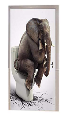 A.Monamour Weißer Hintergrund Elefant Sitzt Auf Toilette Geknackt Boden Lustige Drucken Vinyl Zimmertür Aufkleber Tapete Wandbilder Tür Aufkleber Poster