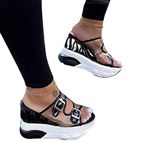 Syfinee Sandalias de tacón de plataforma ultra gruesas para mujer, con cierre de correa transparente para vacaciones diarias