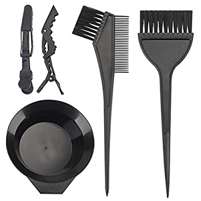 Yexixsr 5Pcs Professional Salon Hair Coloring Dyeing Kit, Hair Dye Color Brush and Bowl Set, Mixing Bowl, Angled Comb and Brush, Hair Clips