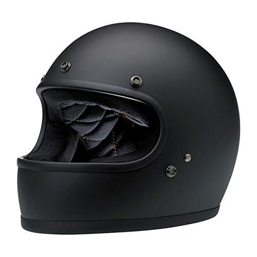 Integralhelm Gringo Biltwell Schwarz matt Flat Black zugelassen Doppelt zugelassen ECE (Europa) & DOT (America) Helmet Biker Custom Vintage Retro 70. M Schwarz