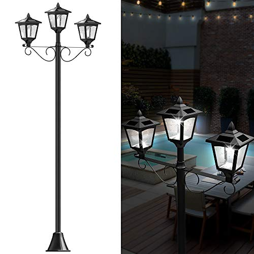 "72"" Solar Lamp Post Lights Outdoor, Triple-Head Street Vintage Solar Lamp Outdoor, Solar Post Light for Garden, Lawn, Planter Not Included"