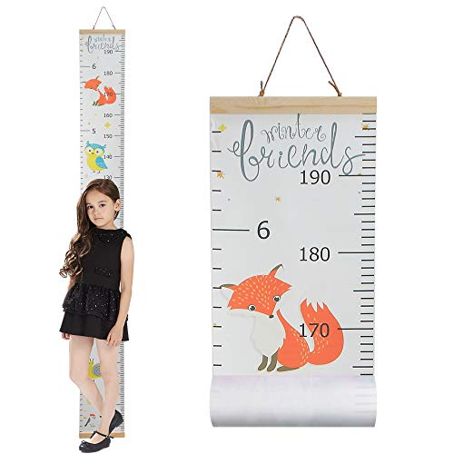 Growth Chart for Kids,Wall Nursery Decor with Canvas & Wood Frame Handing Removable Wall Ruler, Cartoon Height Measurement, Scale, Ruler Decor for School Kids Room Bathroom 79