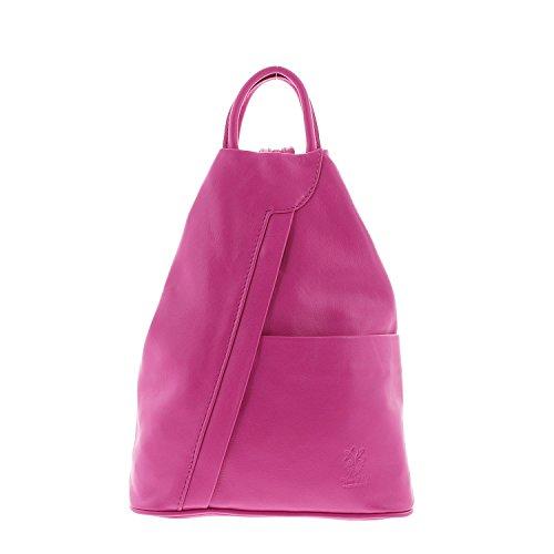IO.IO.MIO leichter echt Leder Damenrucksack CityRucksack DayPack freie Farbwahl, 27-18x30x13 cm (B x H x T) (pink)