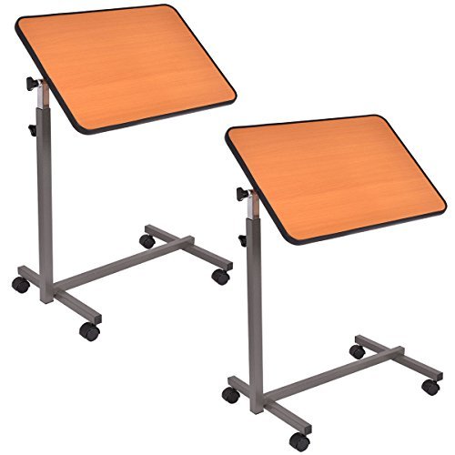 Goplus 2PC Overbed Rolling Table Over Bed Laptop Food Tray Hospital Desk W/Tilting Top