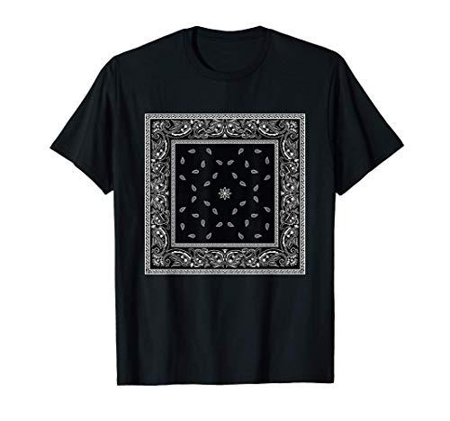 Mens Men's Black White Bandana Print Tee Black Paisley Pattern T-Shirt